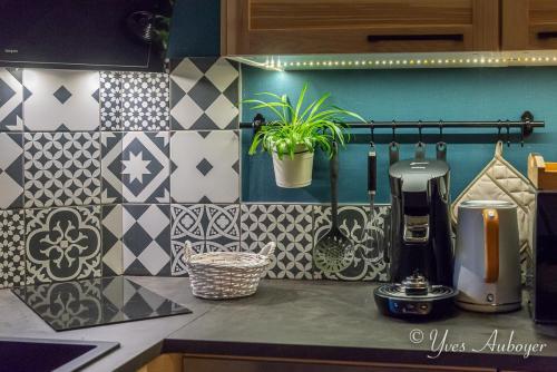 La cuisine : plaques de cuisson, cafetière Senseo et bouilloire